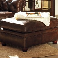 CHESTERFIELD LEATHER OTTOMAN