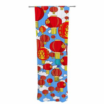 "Notsniw ""Red Lanterns"" Red Blue Travel Ethnic Illustration Digital Decorative Sheer Curtain"