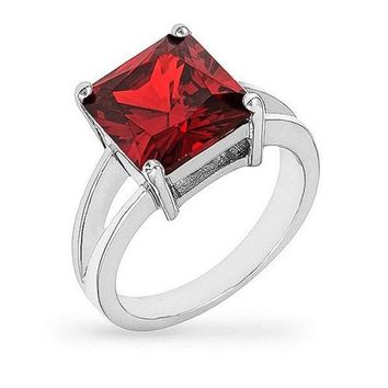 Daria 5ct Garnet CZ White Gold Rhodium Ring