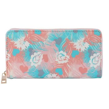 Feather Print Vinyl Clutch Wallet Bag Accessory 307