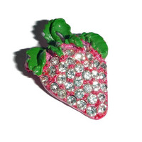 Juicy Pink STRAWBERRY Rhinestone Brooch Bling Sparkling Vintage Fuschia Enamel BERRY Pin FRUIT Figural Broach Vintage Summer Jewelry Gift