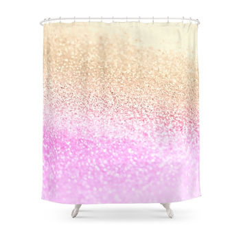 Society6 GOLD PINK GLITTER By Monika Strigel Shower Curtains