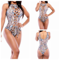 2015 New Fashion Women One Piece Swimsuit Sexy White Mesh Patchwork Swimwear Bandage Monokini Swimming Beach Bathing Suit
