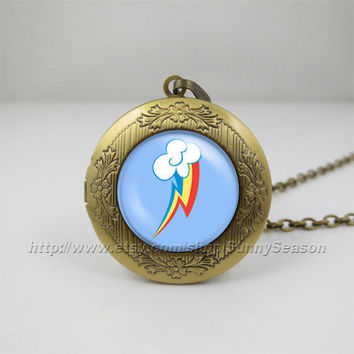 My little pony Locket necklace,My little pony rainbow dash pegasus cutie mark Photo locket necklace,Glass Locket necklace