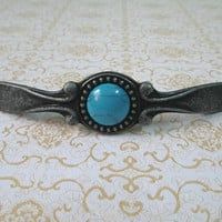 "3"" 76 mm Shabby Chic Dresser Drawer Pulls Handles Knobs Antique Black Turquoise Blue / Cabinet Door Handle Pull Furniture Hardware Embedded"