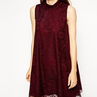 ASOS Lace Swing Dress with High Neck at asos.com