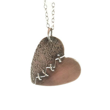 Mended Heart Necklace, Stitched Hearts, Sterling Silver Jewelry, Romantic Jewellery, Heart Pendant, Broken Heart, Relationship Jewelry