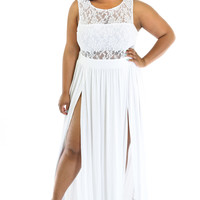 Plus Size White Cut-out  Lace Slit Maxi Dress