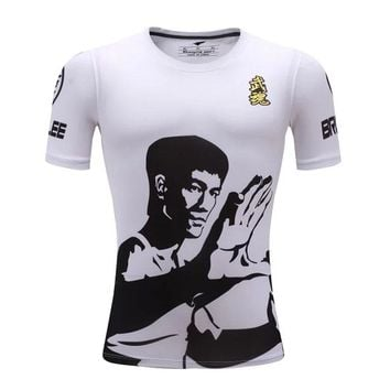 Men Martial Arts Compression T-shirt Fitness Breathable Sports T-shirt For Kids/Children Bruce Lee Gym Tops Plus Size XXS-3XL
