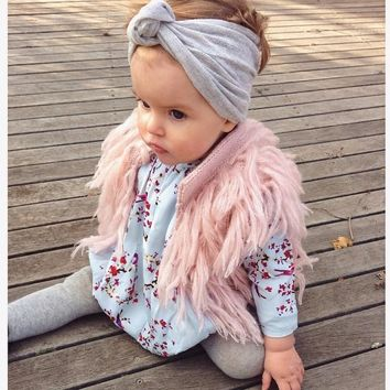 Sweet Kids Girls Tassels Knitted Cardigan Waistcoats Pink Color Cute Baby Fall Winter Jackets Outwears