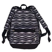 Victoria's Secret Black and White Aztec Style Lined Backpack PINK Bookbag
