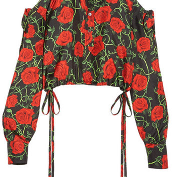 Alexander Wang - Cropped cold-shoulder floral-print silk-twill top