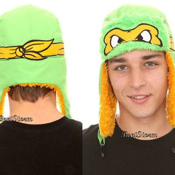 Licensed cool TMNT Teenage Mutant Ninja Turtles MICHELANGELO MASK SKI FAUX FUR PILOT HAT CAP