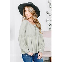 Loose Mint Long Sleeve Top