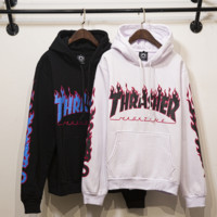 The new THRASHER blue flame hooded fleece cotton sweater