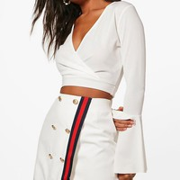 Leanne Button Front Contrast Trim Mini Skirt | Boohoo