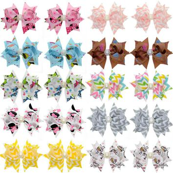 20PCS 3 Inch Kawaii Girls Hair Clips For Women 10 Color DIY Rhinestones Ribbon Hair Bows Hairpins Girls Hair Accessories