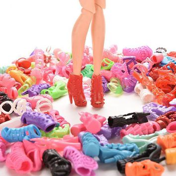 ICIK272 15Pairs Colorful Assorted Shoes For Barbie Doll With Different Styles Fashion Toy Girls Christmas Gift
