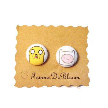 Handmade Jake the Dog and Finn the Human Adventure Time Earrings or Necklace - Variations Available