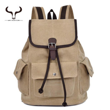England Vintage Style Cotton Canvas Drawstring Backpack Men Women Student School teenager Outdoor Travel Hiking Bag XCMX/1289