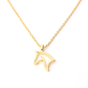 Gold/SIlver Plated Hollow Horse Pendant Chain Necklace
