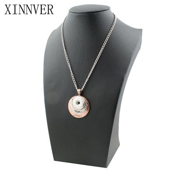 Vintage women's Hope&Love charms necklace 18mm snap button necklace with Link chain woman DIY jewelry ZG054