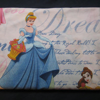Disney Princess Belle Sleeping Beauty Aurora Cinderella Diary Flat Bedding Sheet Twin Size Bed Kid Girl Craft Fabric Clean Gently Used