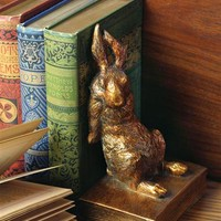 GILDED BUNNY BOOKENDS - Gold Rabbit Bookends