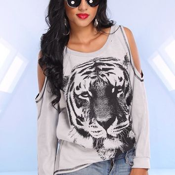Grey Tiger Print Sweater with Cutout Shoulder Detail