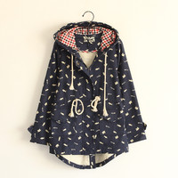 Cute kitten fish bones covered short in front long zipper hooded jacket from Harajuku fashion
