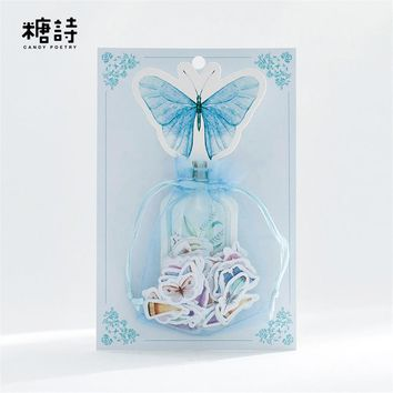 100pcs/pack PVC Stickers Nature Collection Mini Deco Sticker Cute Feather Butterfly Sealing Stickers DIY  Post It Journal Diary