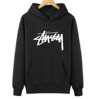 Trendy Stussy Print Casual Loose Sports Hoodies Pullover Sweater