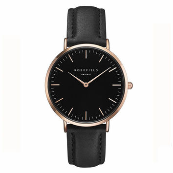 36/40mm Classic ROSEFIELD Leather Quartz Watch Brand Women Watches Lovers Jelly Casual Watch Relogio Feminino 2016 Clock Women