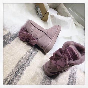 SPBEST UGG winter new lady snow boots classic novelty series bow mini boots 1095794 light purple