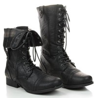 Jetta25 Women Black Military Lace Up Combat Boots w Fold Over Plaid Print Design