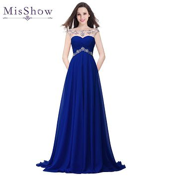 2017 Cheap Price Hot Long Crystal Evening Dress Elegant Beads Royal Blue Floor Length Chiffon Prom Party Gown For Women