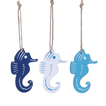 Mediterranean Style Hippocampus/Dolphin Wood Crafts Home Decoration Small Pendant Nautical Style Wall Ornament