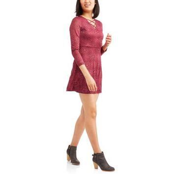 Liberty Love Juniors' All Over Lace Caged Long Sleeve Skater Dress - Walmart.com