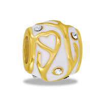 DaVinci Beads White And Gold Hearts Jewelry
