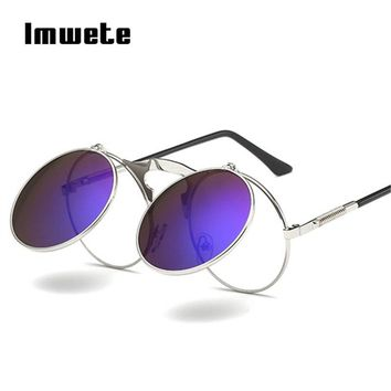 Imwete Retro Steampunk Sunglasses Women Round Metal Frame Steam punk Gothic Sun Glasses Men Brand Designer Eyewear UV400