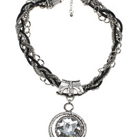 Braided Chain Medallion Necklace in Silver – bandbcouture.com