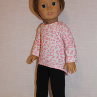 18 inch doll clothes, 2 piece set! pink animal print high low long sleeve shirt, black leggings, American Girl, Maplelea