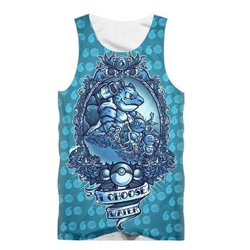 LiZhiYang Tank Tops Men or women Summer 3d Print Pokemon Puff Water Paint Sleeveless Vest hot fashion Style Shirt free shopping