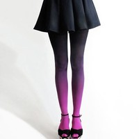 Gradient Color Velvet Tights Purple Pantyhose