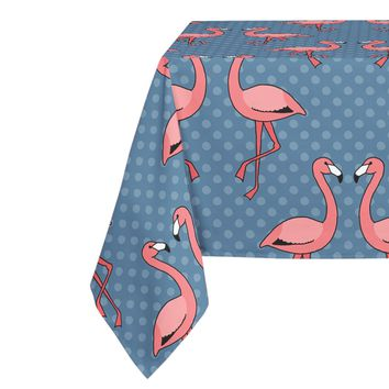 FLAMINGOS FRIENDS ON BLUE PATTERN Table Cloth By Northern Whimsy
