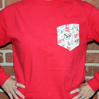 Alpha Omicron Pi Long Sleeve Tee Shirt in Red with Pattern Pocket by the Frat Collection