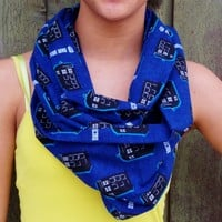Infinity Scarf Made From Doctor Who TARDIS Fabric. Flannel Infinity Scarf.