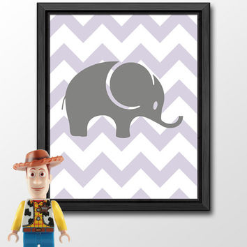 elephant kids wall decor, elephant kids art chevron, levander nursery art print, girl room print, baby nursery decor, playroom art elephant