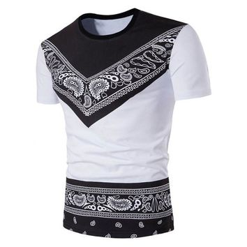 Crew Neck Color Block Tribal Paisley Print T-Shirt