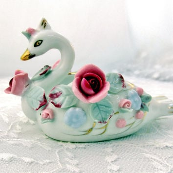 Vintage Vanity Dish Swan Ornate Floral Porcelain Pink And Deep Rose Signed Chic USA Ring Holder Collectible Gift  Item 1452 F